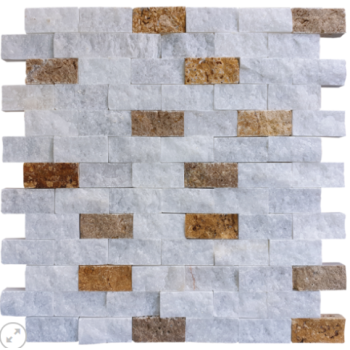 2.3x4.8 White Üçlü Mix Duvar Kaplama Patlatma Taş