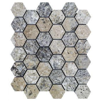 4.8x4.8 Silver Hexagon Mozaik