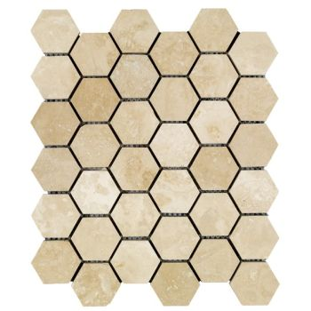 4.8x4.8 Travertine Hexagon Mozaik
