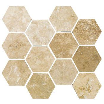 10x10 Travertine Grand Hexagon Mozaik