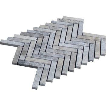 1.5x7.5 Silver Herringbone Doğal Taş Mozaik
