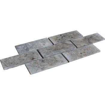 1x7.5x20 Silver Bricks Mutfak Tezgah Arası Duvar Kaplama Mozaik Doğal Taş